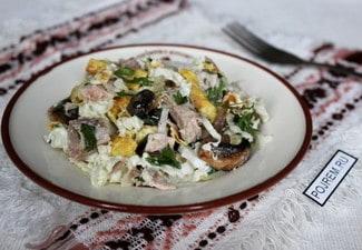 Салат мясной с грибами и яичными блинчиками
