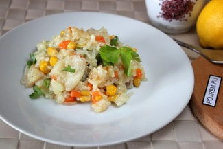 Рис с овощами и рыбой