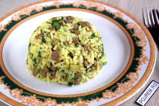 Рис с чечевицей и со шпинатом