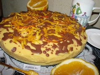 Апельсиновый торт с заварным кремом