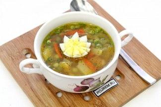 Суп из замороженного зеленого горошка