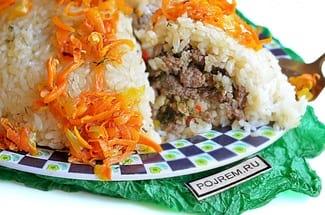 Рисовая запеканка с фаршем и овощами в духовке