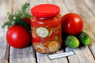 Салат из огурцов, помидоров и лука на зиму