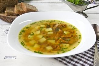 Суп из замороженных лисичек