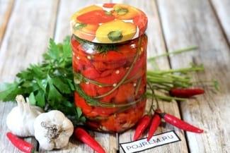 Печеный болгарский перец с чесноком на зиму