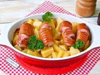 Картошка с сосисками в духовке