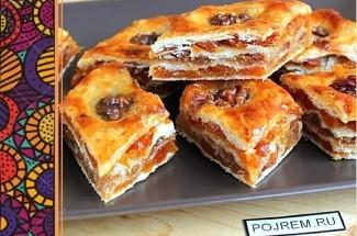 Турецкая сладость, известная с XV века. Быстрый способ приготовления из слоеного теста.