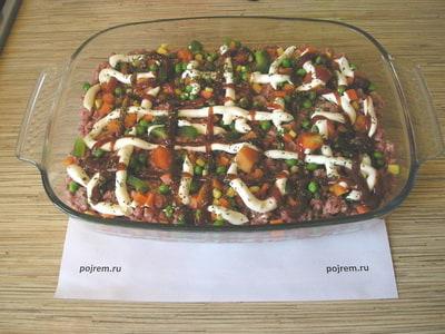 рецепт приготовления картофельной запеканки с фаршем в духовке с фото