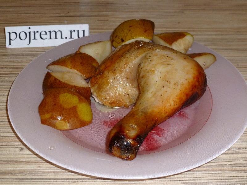 курица, фаршированная грушами