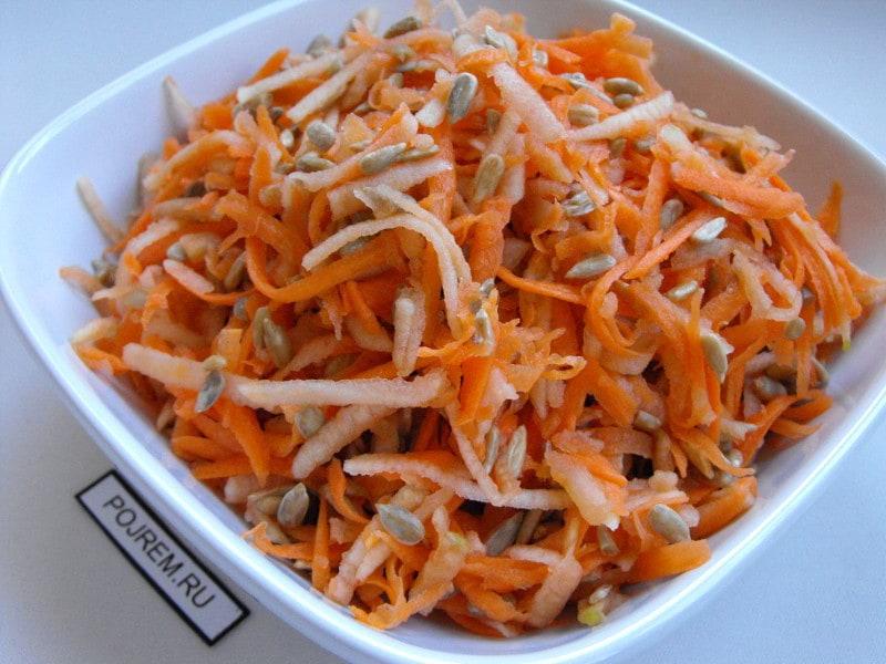 рецепты салата из моркови яблок