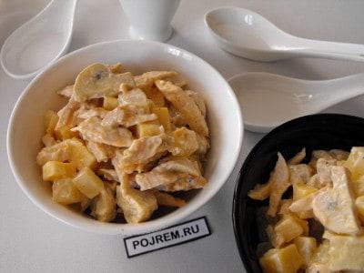 каприз салат рецепт с фото с курицей и грибами