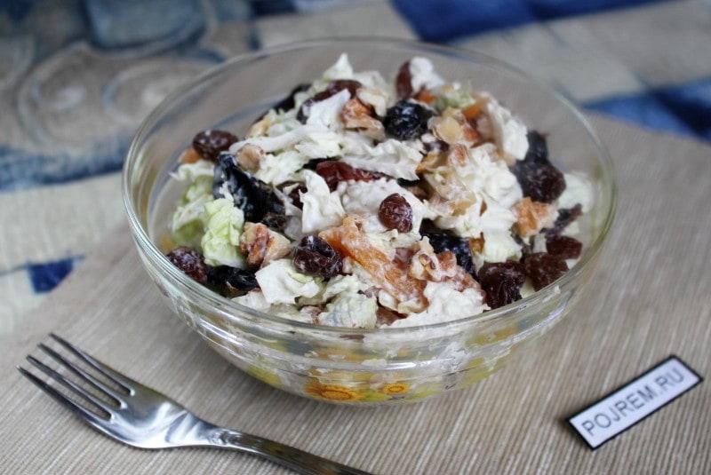 рецепт салат из капусты с курицей и орехами