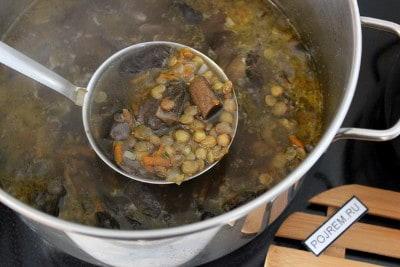рецепт супа из сушеных грибов с чечевицей