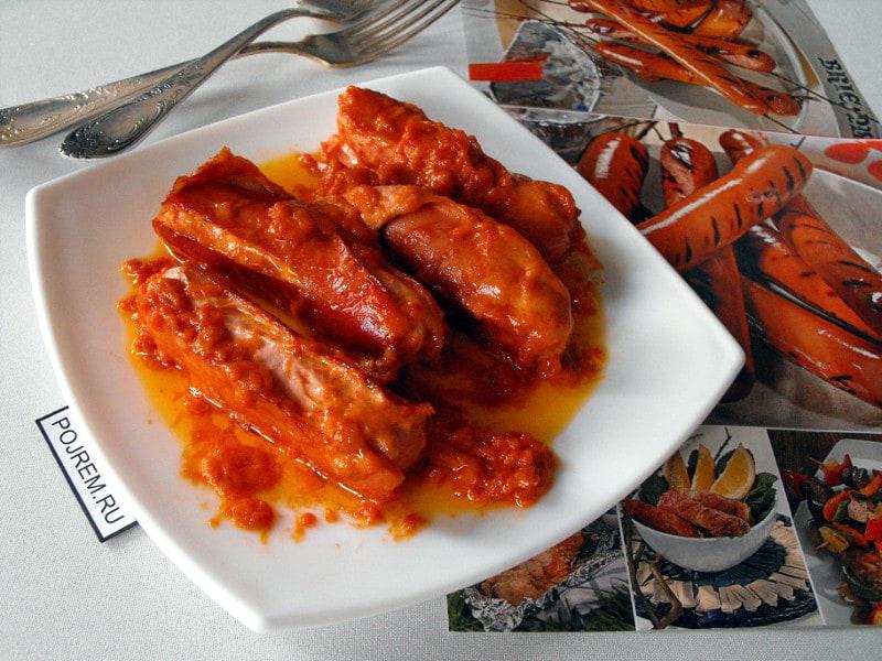жареные сосиски в соусе