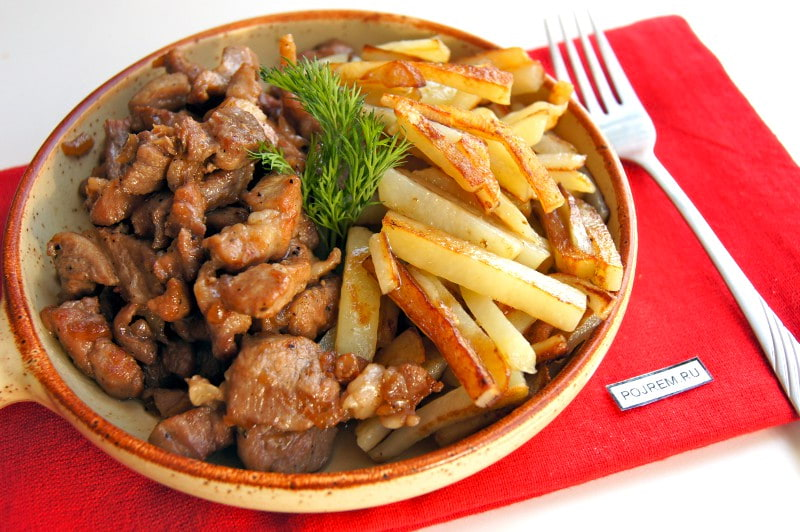 картошка со свининой на сковороде рецепт