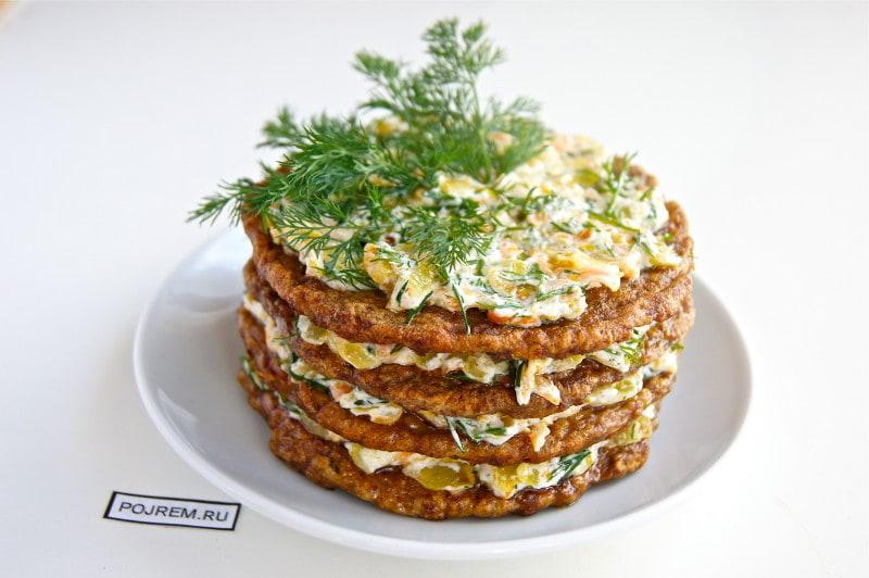 печёночный торт из куриной печенки рецепт с фото