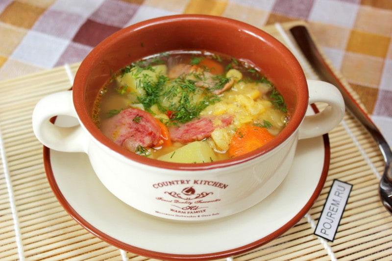 рецепт приготовления горохового супа с колбасой