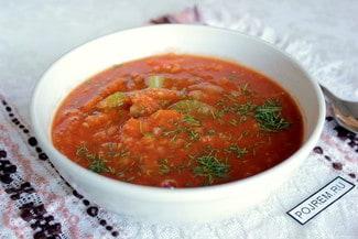 Томатный суп с сельдереем и чечевицей