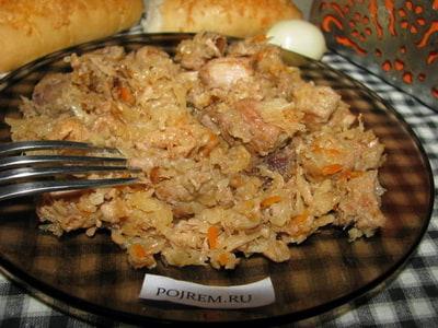 тушеная капуста с картошкой с мясом в кастрюле пошаговый рецепт