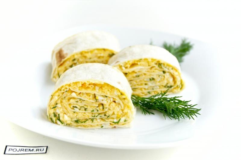 рулет из лаваша с сыром и яйцом