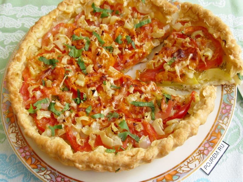 овощной пирог на слоеном тесте