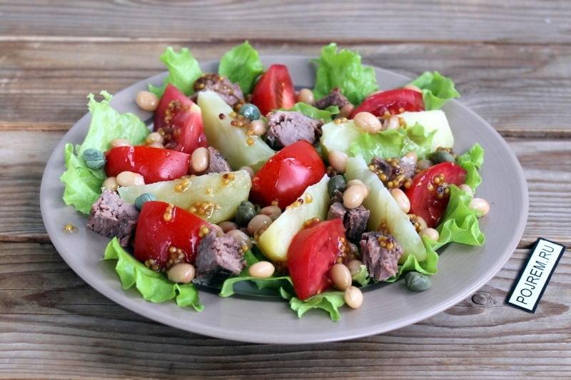 теплый салат из тунца консервированного рецепт