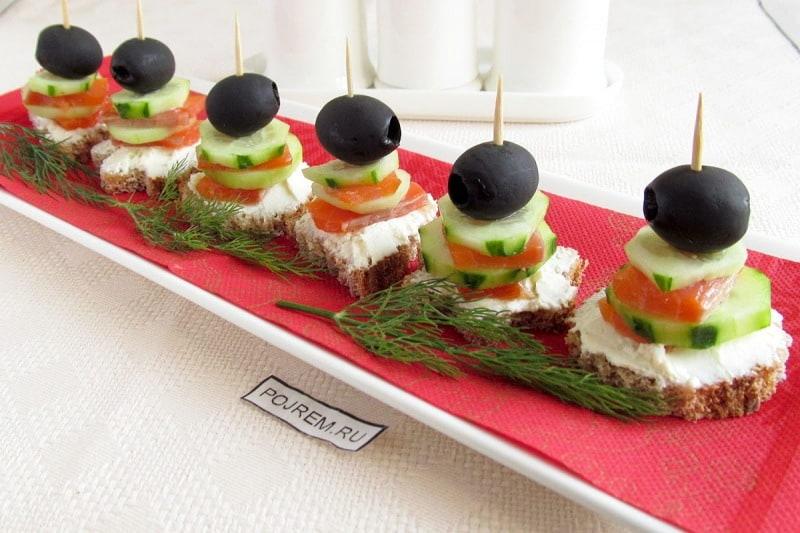 бутерброды на праздничный стол рецепты с фото простые с красной рыбой