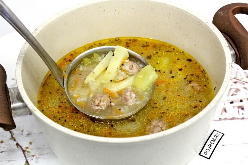 рецепт супа с фрикадельками из фарша с рисом с фото пошагово