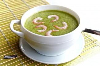 Суп-пюре из брокколи со сливками и креветками