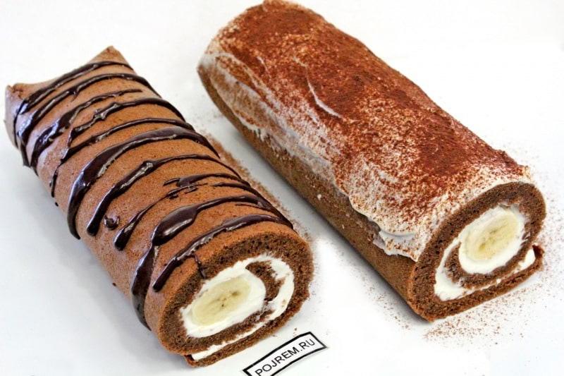 шоколадно-банановый рулет