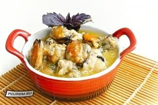 Мидии в сливочно-чесночном соусе