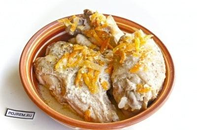 курица в сметане на сковороде с луком рецепт с фото