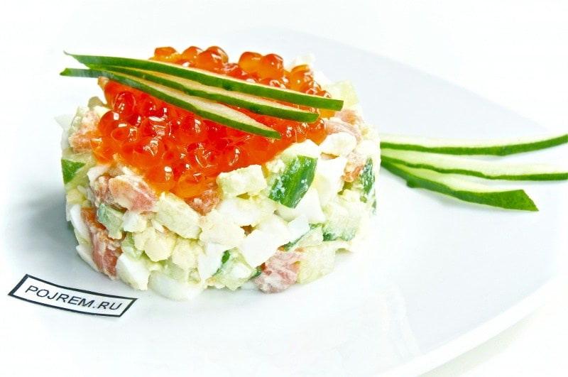 салат с лососевой икрой