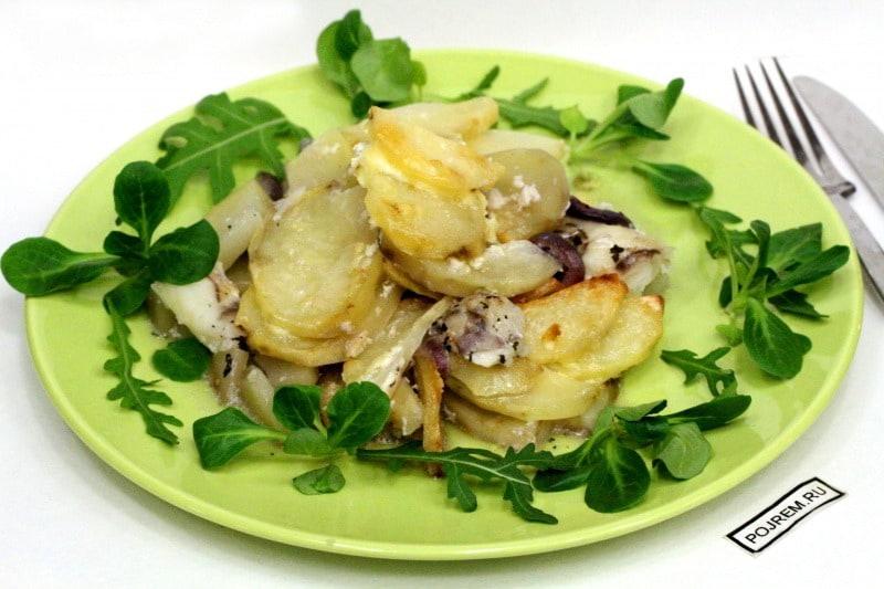 рецепт картофель запеченный с рыбой в духовке рецепт