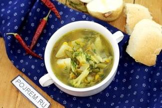 Зелёный суп (фасоль, горошек, брокколи, картофель) в мультиварке