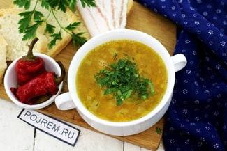 Суп гороховый с копчёными рёбрами