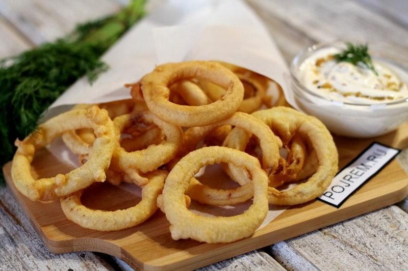 луковые кольца с сыром в кляре рецепт с фото пошагово