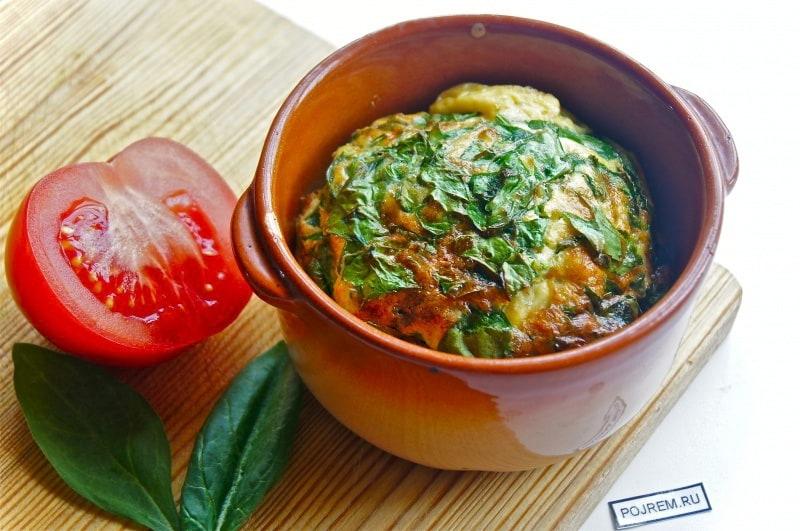 омлет со шпинатом в духовке