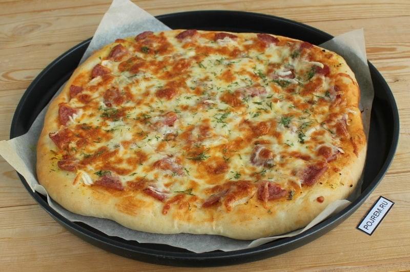 пицца рецепт с фото пошагово с колбасой и сыром