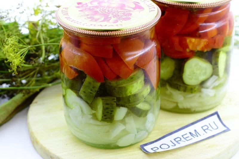 салат с огурцом и помидором на зиму
