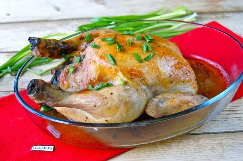 курица в духовке, фаршированная грибами