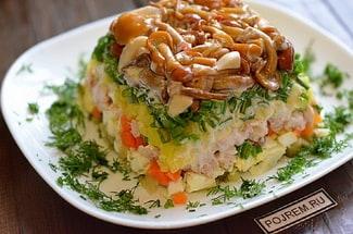Салат «грибная поляна с опятами»