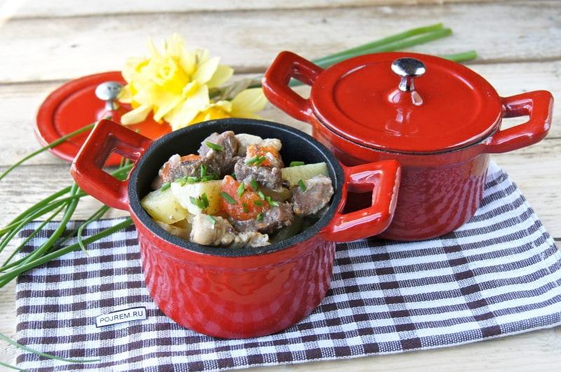 рецепт мяса в горшочках в духовке пошаговый рецепт