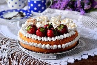 Очень вкусный и простой бисквитный торт