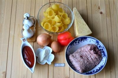 крупные макароны с фаршем в духовке рецепт