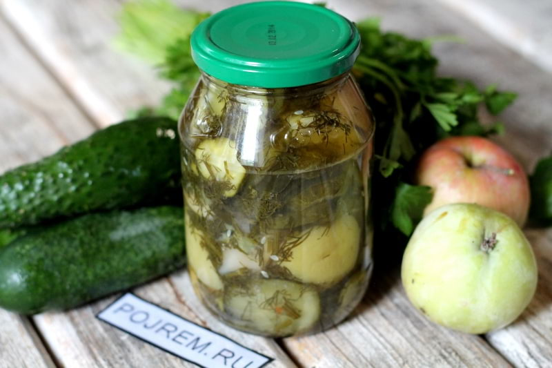 салат из огурцов с яблоками