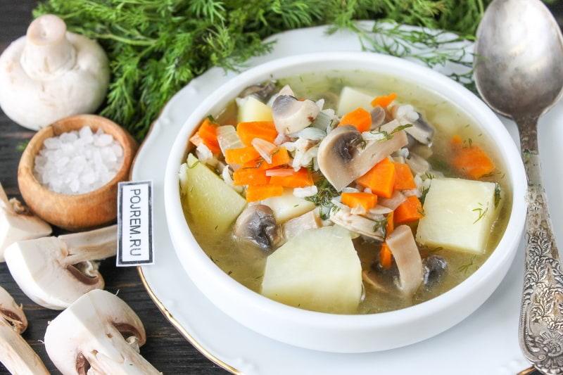 Суп из сушёных грибов рисами