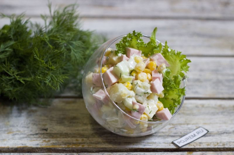Салат с русской колбасой и