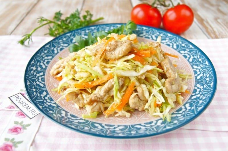 салат с белокочанной капустой и курицей